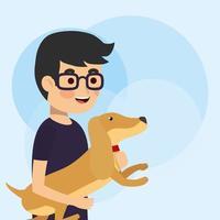 ung man som håller en hund vektor