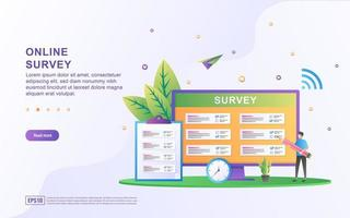 Illustrationskonzept des Online-Supports. Frage und Antwort Umfrage Illustration Konzept vektor