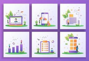 uppsättning platt designkoncept. online-streaming, onlinebetalning, nyhetsbrev, investering