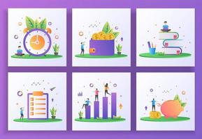 Satz von flachen Design-Konzept. Zeitmanagement, Geld verdienen, Bildung, Jobliste, Investition