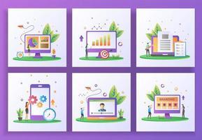 Satz von flachen Design-Konzept. Datenverwaltung, Berichterstattung über Verkäufe, Erstellung von Inhalten, Aktualisierung der mobilen App vektor
