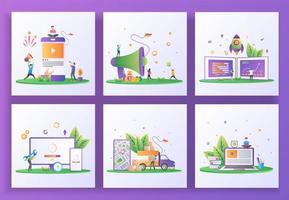 uppsättning platt designkoncept. sociala medier marknadsföring, hänvisa en vän, starta företag vektor