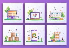 uppsättning platt designkoncept. online-lärande, underhåll, online-rekrytering, logistisk distribution