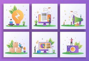 uppsättning platt designkoncept. affärslösning, nyheter, hänvisa en vän, distribution