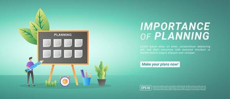 Pläne machen und Zeit online verwalten. Disziplin, effiziente Arbeit, Arbeits- oder Schulplanung umsetzen. vektor