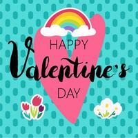 glad Alla hjärtans dag gratulationskort tecknad färg design vektor