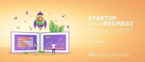 ein Geschäftskonzept starten. Starten Sie ein Projekt und entwickeln Sie eine Strategie. Datenmanagement analysieren. vektor