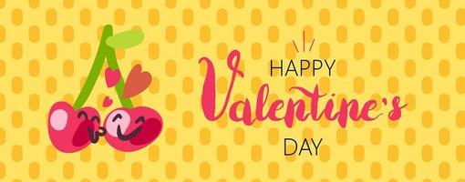 Happy Valentinstag Cartoon Banner Design vektor