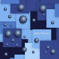 überlappendes blaues quadratisches Design mit Kugelhintergrund vektor