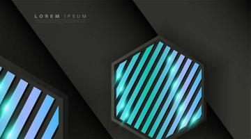 schwarzgraues Sechseck mit blauen Leuchtstreifen vektor