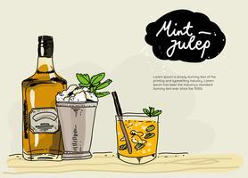 Färsk Mint Julep Hand Drawn Vector Illustration