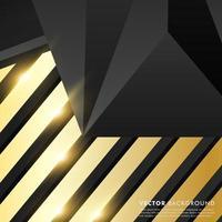 schwarzgraues Polygon mit goldenem Lichteffekthintergrund vektor