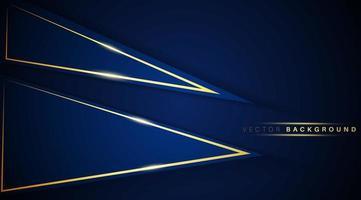 överlappande triangel mörkblå form med guld ljus bakgrund vektor