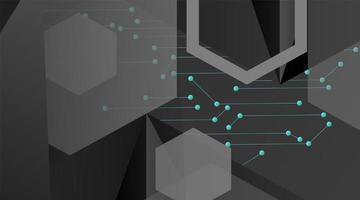 geometrischer Hintergrund des abstrakten Vektors. Polygonale Schablone des dunkelgrauen Vektors und verbundene Punkte der blauen Linie