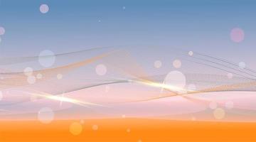 abstrakt bakgrund med glänsande vågor och bokehljus vektor