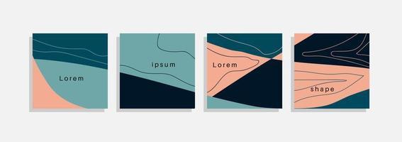 Vektorsatz minimaler Hintergründe mit abstrakten organischen Formen, Handzeichnungslinie und Beispieltext. zeitgenössische Collage. minimale stilvolle Abdeckung für Branding-Design.
