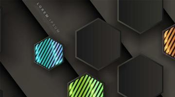 schwarzgraues Sechseck mit buntem Streifenhintergrund vektor