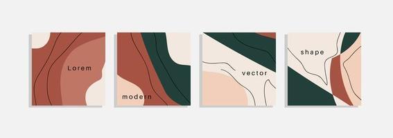 vektor uppsättning av minimala bakgrunder med abstrakta organiska former, hand rita linje och exempeltext. samtida collage. minimalt snyggt skydd för märkesdesign.