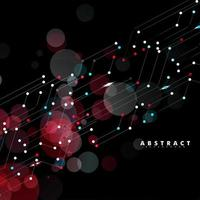 abstrakt digital teknik svart bakgrund. anslutna linjer och punkter. vektor