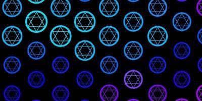 dunkelrosa, blaue Vektorschablone mit esoterischen Zeichen. vektor