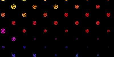 mörkrosa, gul vektorstruktur med sjukdomssymboler. vektor