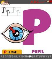 Buchstabe p aus dem Alphabet mit Pupille des Auges vektor