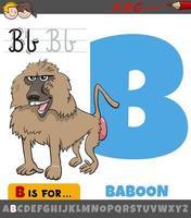 Buchstabe b Arbeitsblatt mit Cartoon Pavian Tier vektor