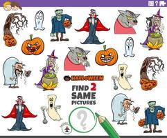 hitta två samma halloween karaktärer pedagogiska spel för barn vektor