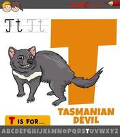 Buchstabe t vom Alphabet mit dem tasmanischen Teufelstier des Cartoons vektor