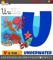 Buchstabe u vom Alphabet mit Cartoon-Unterwassertieren