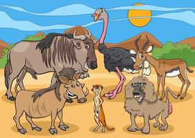Karikatur afrikanische wilde Tiercharaktergruppe vektor