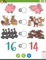 Größer weniger oder gleiches Zeichentrickspiel für Kinder vektor