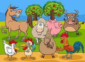 lustige Bauernhoftier-Zeichentrickfigurengruppe vektor
