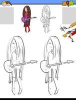 ritning och färgläggningsuppgift med tjej som spelar gitarr vektor