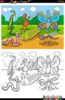 Cartoon lustige Insekten und Käfer Gruppe Malbuch Seite vektor