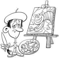 tecknad målare konstnär komisk karaktär målarbok sida