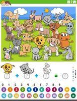 Zählen und Hinzufügen von Aufgaben mit Comic-Tieren vektor