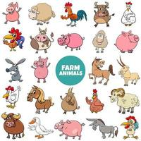 tecknad gård djur karaktärer stor uppsättning vektor
