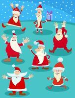 Cartoon Santa Claus Charaktere zur Weihnachtszeit vektor