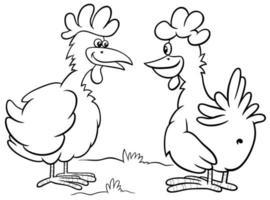 Cartoon zwei Hühner Charaktere sprechen Malbuch Seite
