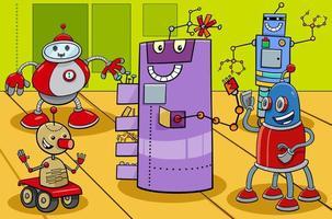 Comic-Roboterfiguren-Gruppenkarikaturillustration vektor