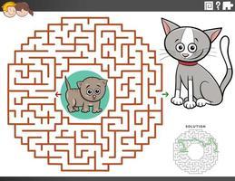 labyrint pedagogiskt spel med kattunge karaktärer vektor
