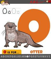 Buchstabe o aus dem Alphabet mit Otter Tiercharakter vektor