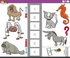 pedagogiskt spel med stora och små djur för barn vektor