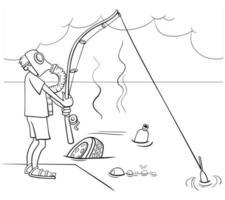 Cartoon-Typ, der in der Abwassermalbuchseite fischt vektor