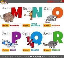 pedagogiska tecknade alfabetbokstäver från m till r