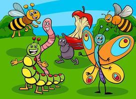 lustige Insekten und Käfer Zeichentrickfigurengruppe vektor