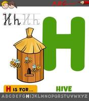 Buchstabe h Arbeitsblatt mit Cartoon Bienenstock vektor