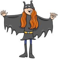 Mädchen im Superheldenkostüm an der Halloween-Partykarikaturillustration vektor