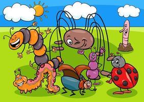 Insekten- und Käfer-Zeichentrickfigurengruppe vektor